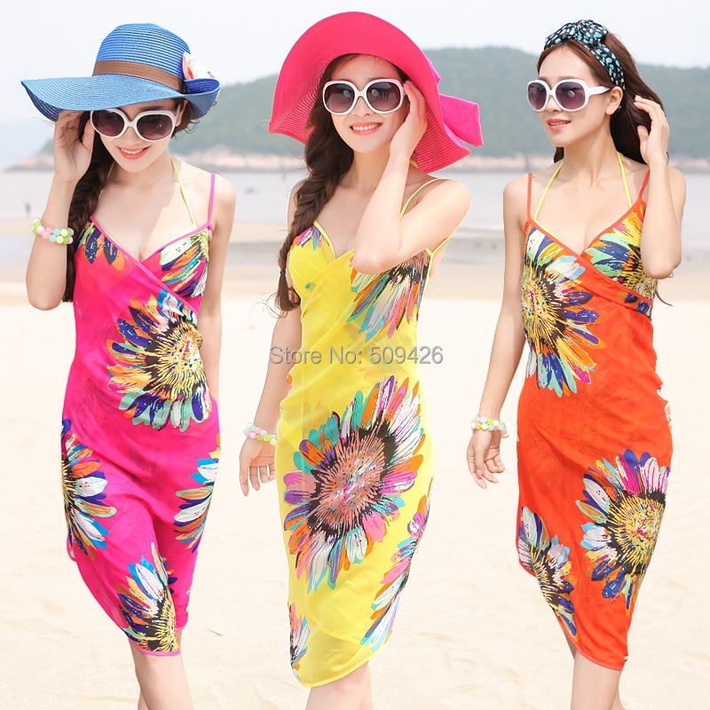 Beach dress full spaghetti strap print one-piece plus size bikini swimwear chiffon skirt female - Missyou store