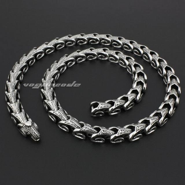 "18"" ~ 36"" 316L Stainless Steel Dragon Chain Mens Biker Rocker Punk Necklace 5A001N"