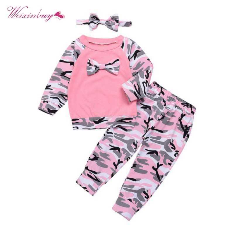 cb0daabb0b21 WEIXINBUY Newborn Baby Girls Clothes Set 3PCS Cute Bowknot T-shirt  Tops+Camouflage Pants
