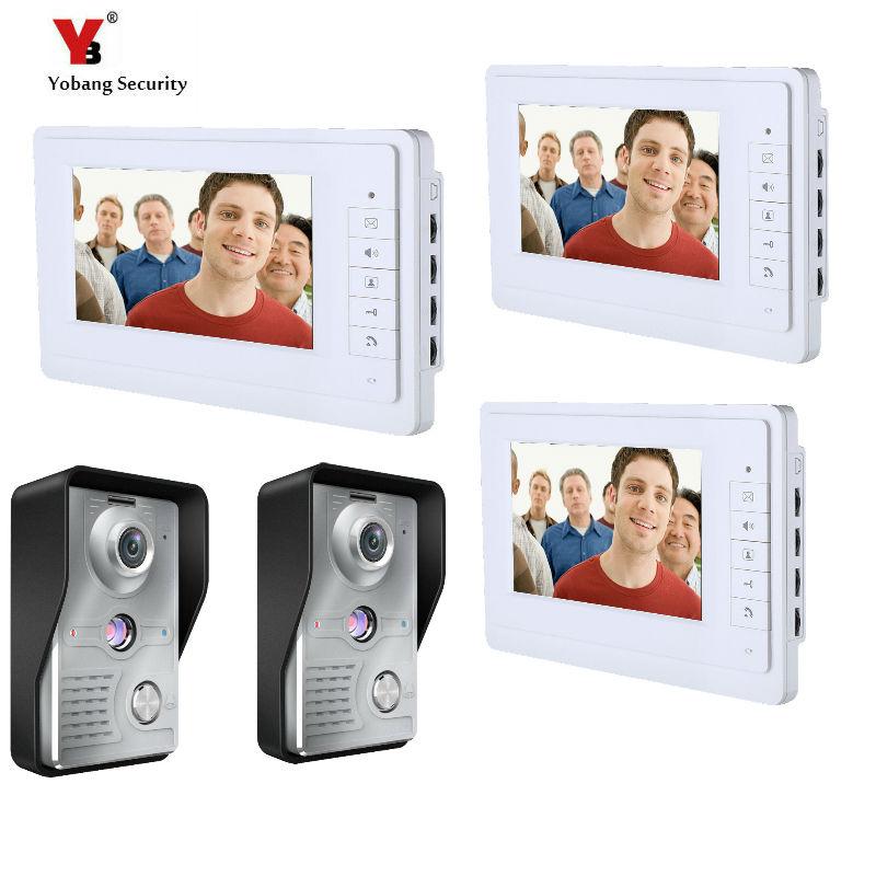 Yobang Security 3*7 inch Wired Video Door Bell Phone System Video intercom door bell Home Security Video intercom 2 Camera