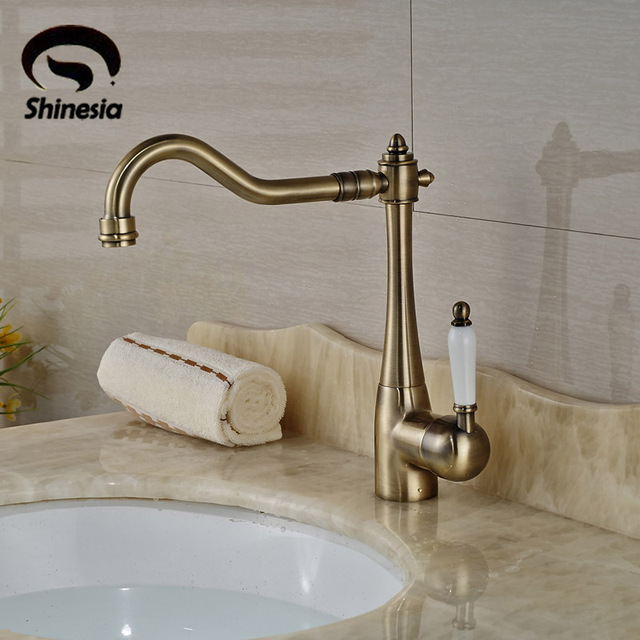 Ceramic Handle Bathroom Sink Faucet Antique Bronze Vessel Sink Mixer