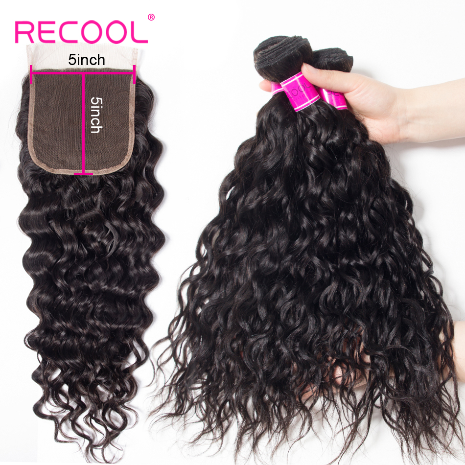 Recool Hair Natural Color 3 Bundles With 5x5 Lace Closure Water Wave Remy Human Hair Brazilian