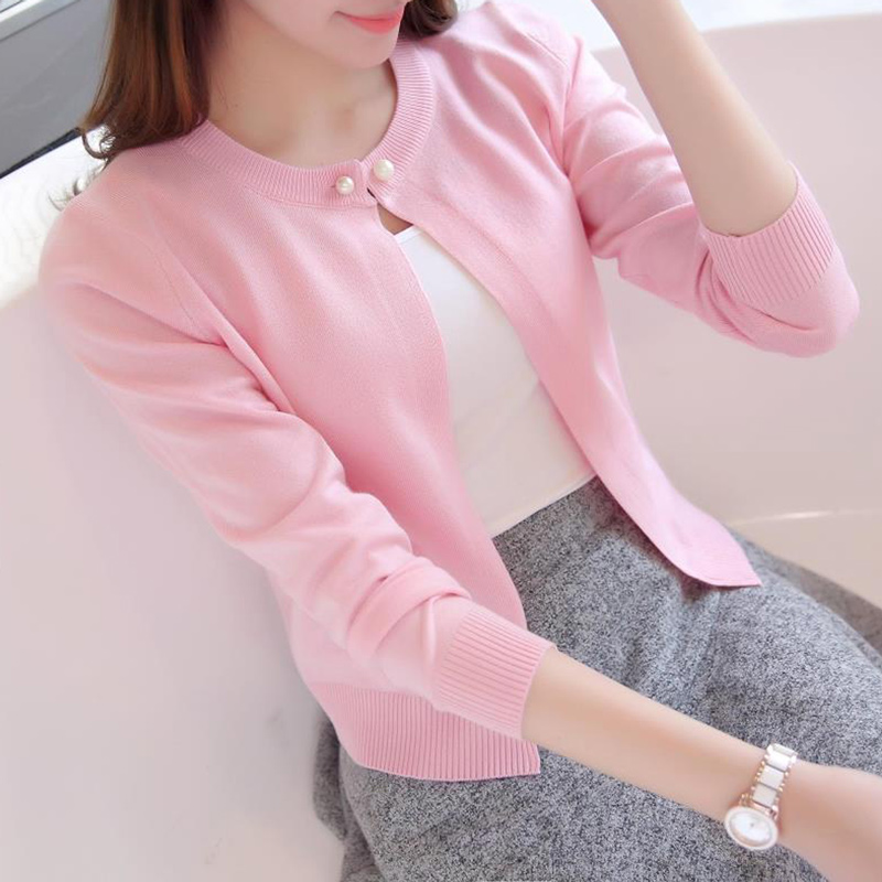 2018 New Solid Color Fashion Women Sweater Female Cardigan Thin Outerwear Summer Short Design Knit Long-sleeve Sweater