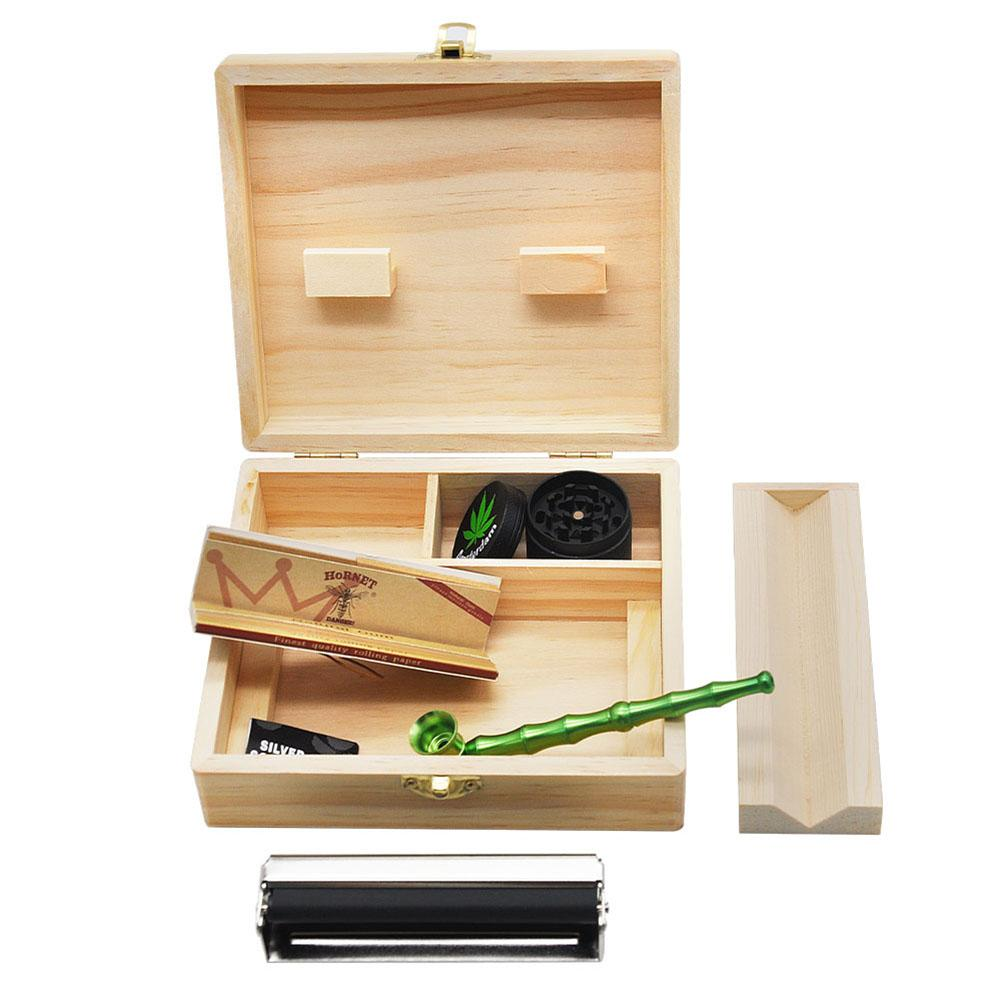1 Set Cigarette Smoking Rolling Wooden Box Tobacco Pipe Paper Filter Tip Grinder