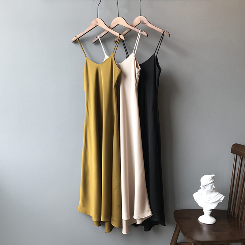 HLHPYHB Sexy V Neck Slip Satin Dress Thin Straps Fishtail Tank Dress Casual Long Slim Camisole Lady Beach Cami Female Dresses