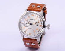 Hot Sale 47mm Parnis Big Pilot Silver Dial with Orange Number Automatic men Watch Top quality