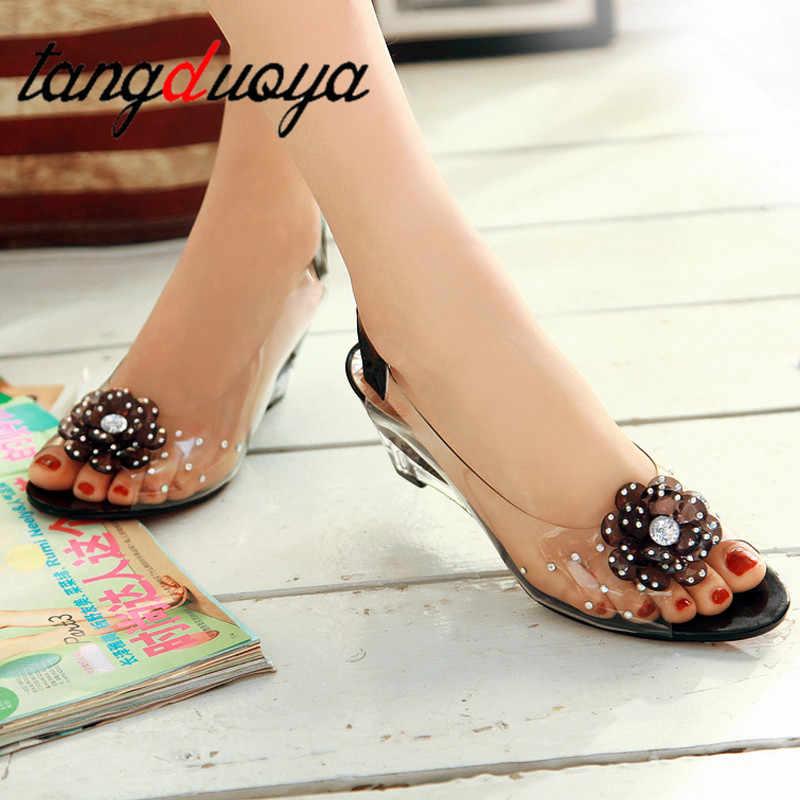 Kadın sandalet jöle takozlar taklidi sandalet çiçek kama yüksek topuklu rahat kadın sandalet kadın ayakkabısı pvc yüksek topuklu sandalet