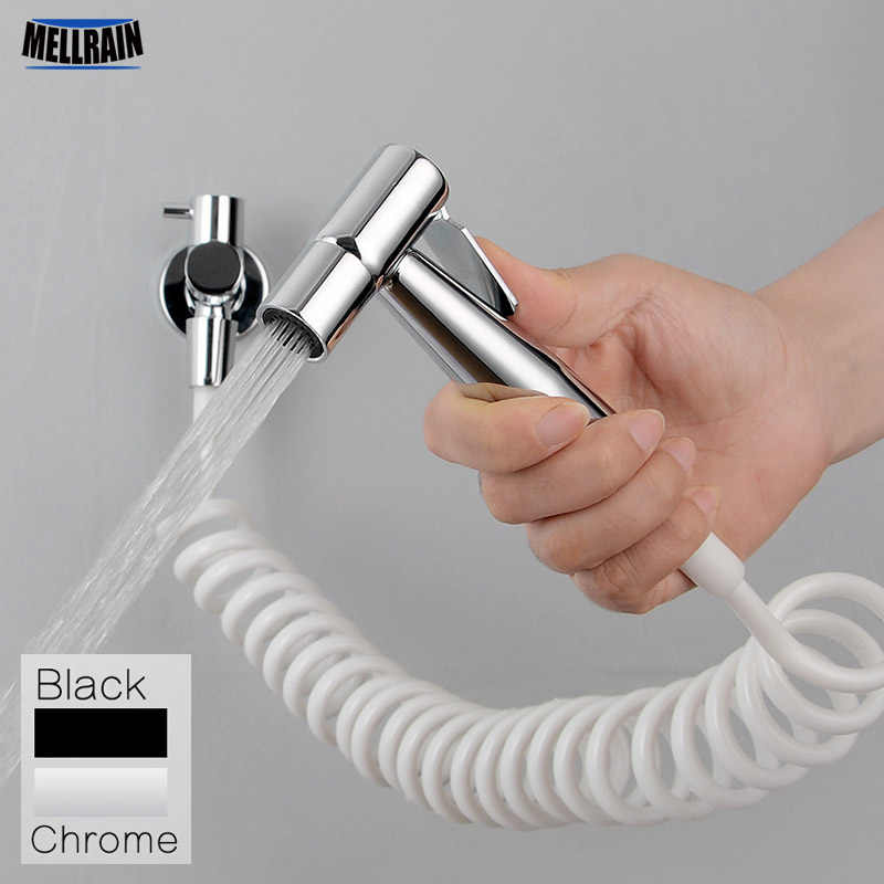 Black & Chrome Toilet Bidet Sprayer Kit. Metal Wall Mounted Handheld Bidet Faucet Set 3 Meters Shower Hose