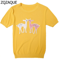 Summer Designer Cute Spotted Deer Pattern Womens T Shirts Fashion Pearls Decorated Short Sleeve Knitted Tops
