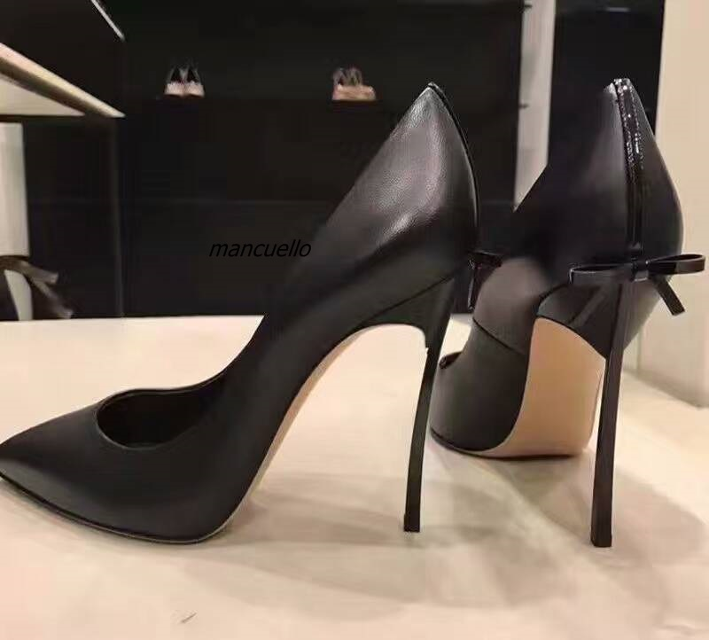 Women Sexy Black PU Leather Pointy Toe Heels Fancy Butterfly-knot Decorated Stiletto Heel Dress Shoes Fashion Slip-on Shoes New