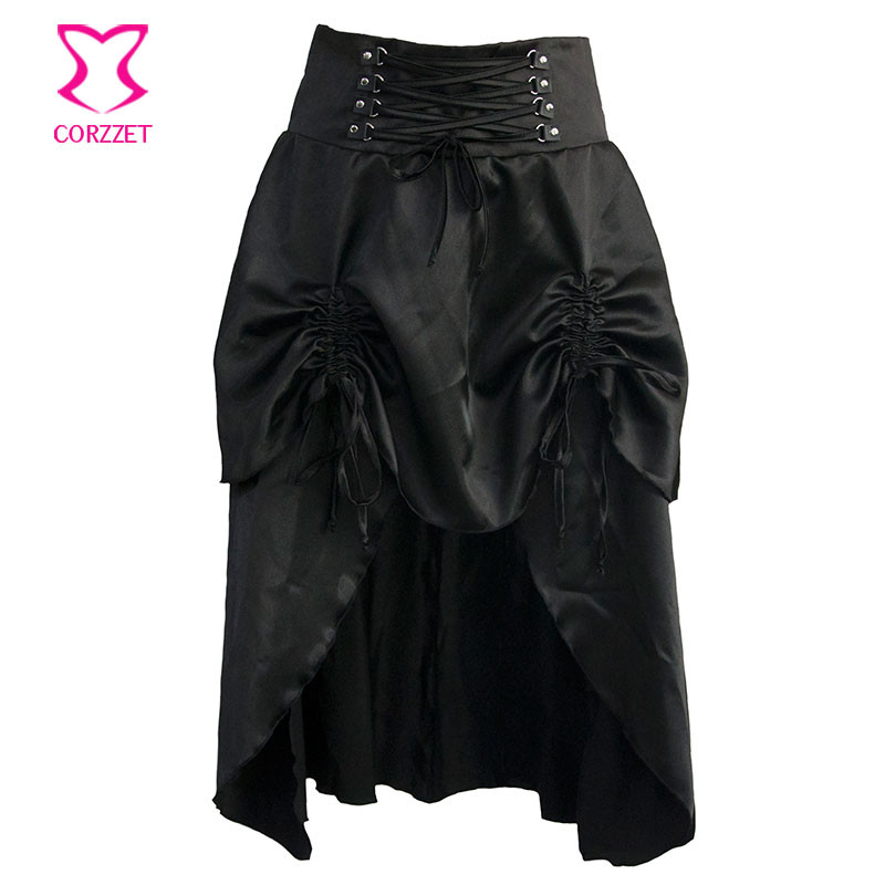 4c296efc6ac4 CORZZET Punk Layers Ruffles Victorian Gothic Slim Vintage Steampunk  Burlesque Skirt For Women s Rock Clothing