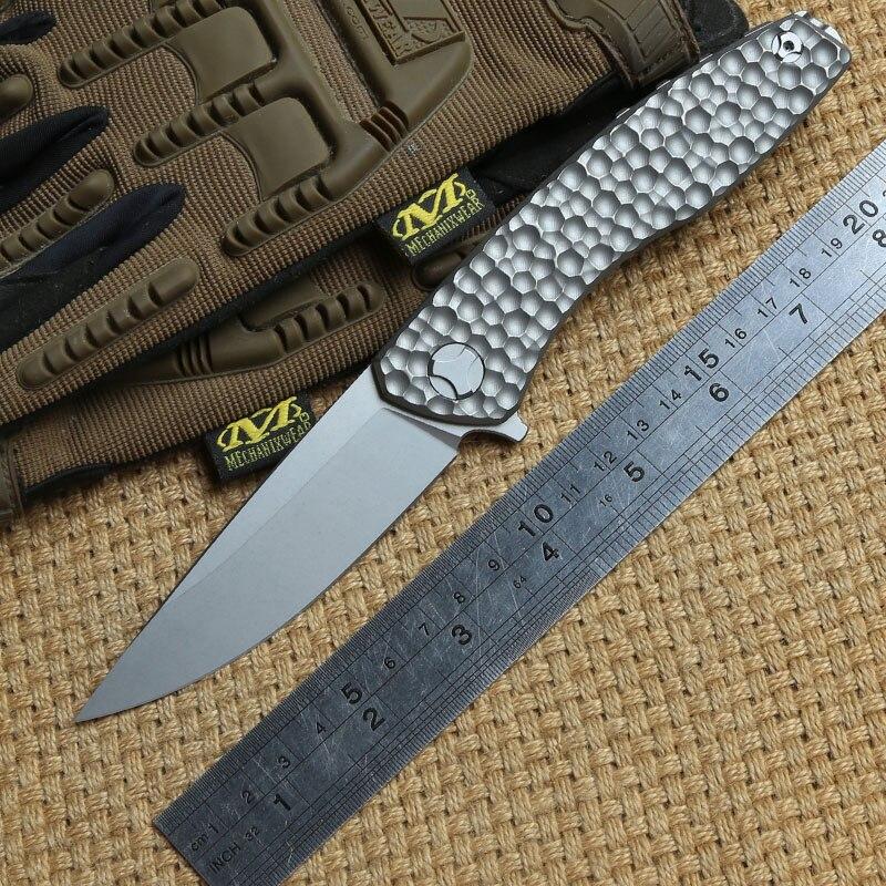 DICORIA Svarn tactique retournement couteau pliant D2 lame titane poignée camping chasse plein air survie couteaux de poche EDC outils
