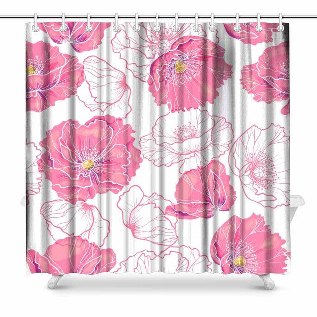 Aplysia Pink Poppy Flowers Fabric Shower Curtain Decor With Hooks 72 X Inches Extra