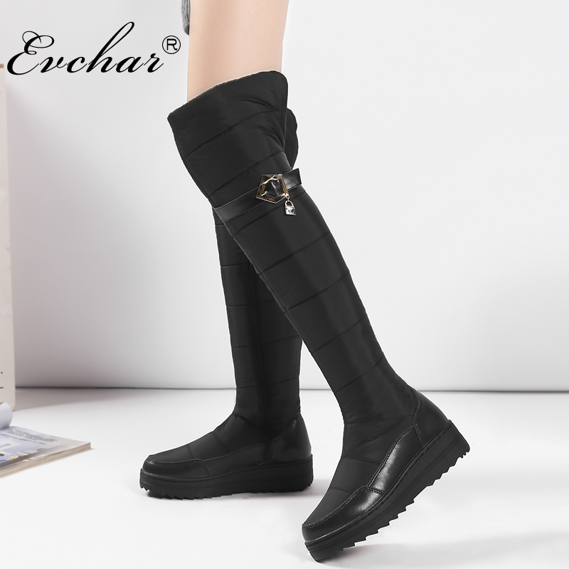 EVCHAR Russia winter keep warm women over the knee boots genuine leather down fur ladies fashion thigh snow shoes big size 35-44 все цены