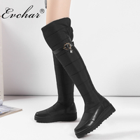 EVCHAR Russia winter keep warm women over the knee boots genuine leather down fur ladies fashion thigh snow shoes big size 35 44