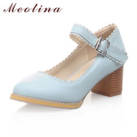 Big Size 40 43 Hot Sale Classic Women Pumps Mary Jane Office Square Med Heels Ladies