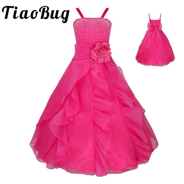 TiaoBug Kids Cô Gái Không Tay Prom Gown Flower Girl Dresses Công Chúa Đám Cưới Rước Bữa Tiệc Tốt Nghiệp Váy với Bowknot 2 14Y