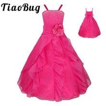 TiaoBug Çocuk Kız Kolsuz balo elbisesi Çiçek Kız Elbise Prenses Düğün Cemaat Mezuniyet Partisi Elbise Ilmek ile 2 14Y