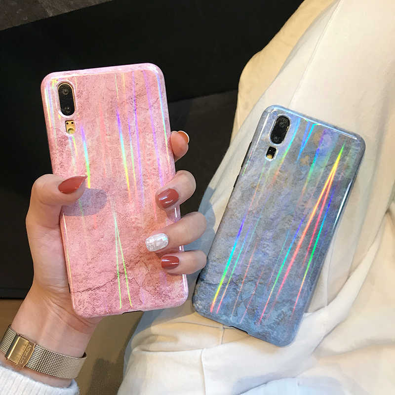 Laser glossy marble Phone Cases for Huawei P30 P20 P10 Pro Mate 20 Pro IMD soft TPU cover For Honor 10 Nova 3 3i back fundas