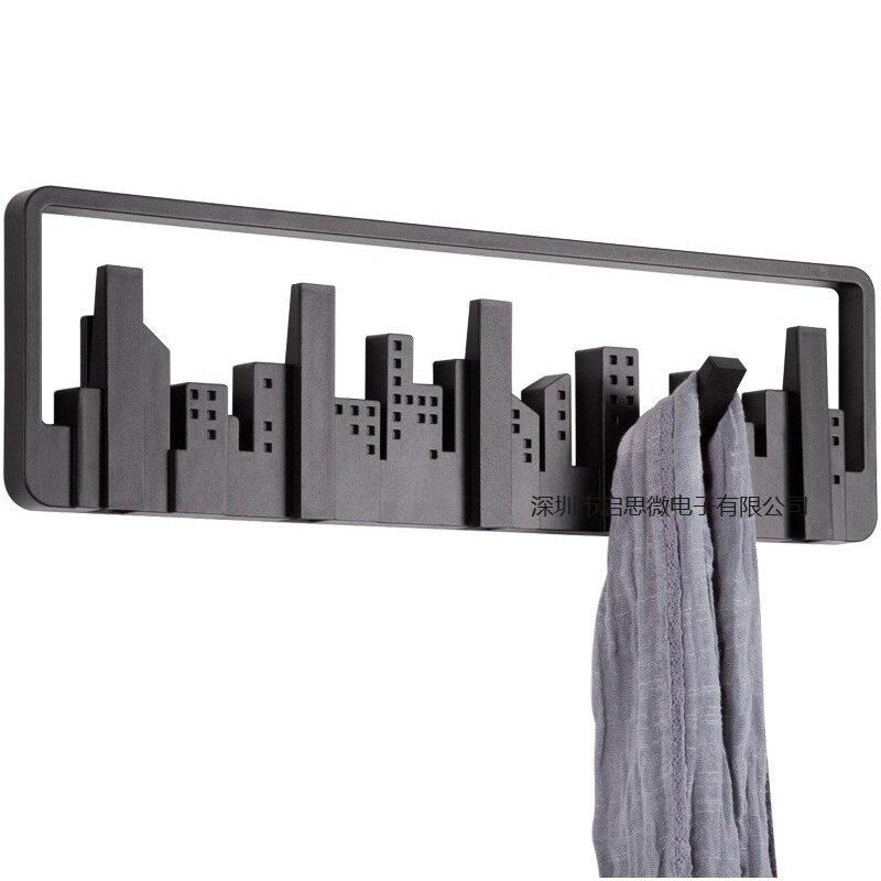 Créatif paysage urbain art mur arrêt de porte crochet cintre suspendu manteau crochets porte-vêtements chambre salon salle de bains décor à la maison