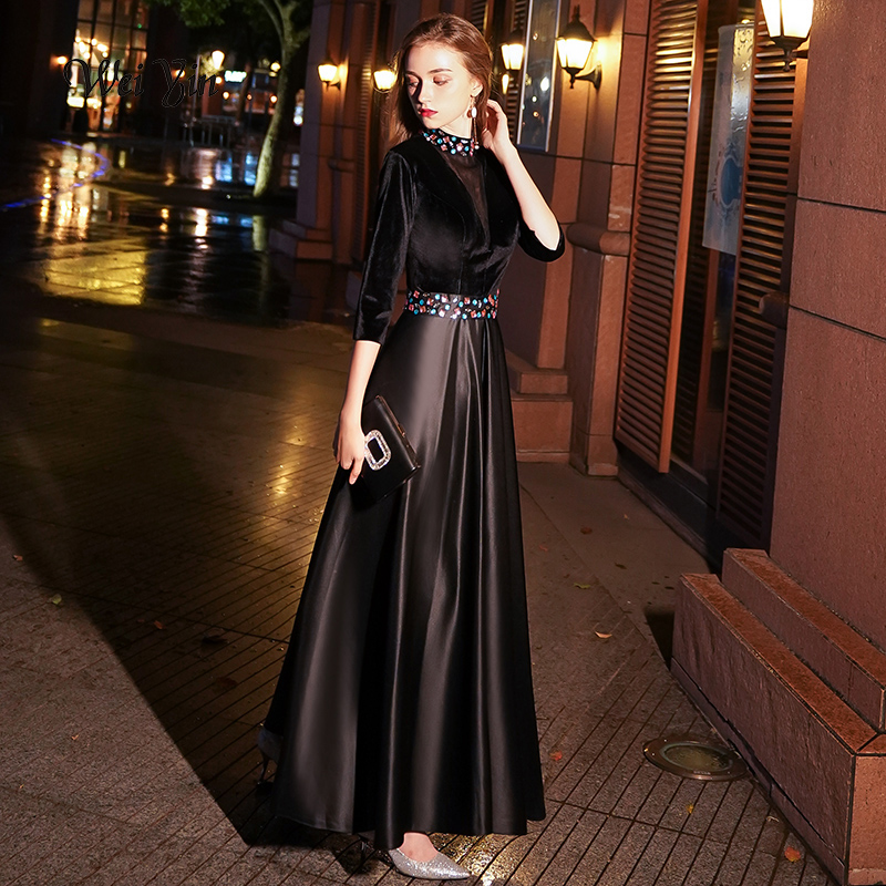 weiyin Black Velour   Evening     Dress   Long 2018 Sexy A-line Party   Dress   Crystal Half Sleeves Prom   Dresses   Robe De Soiree WY1051