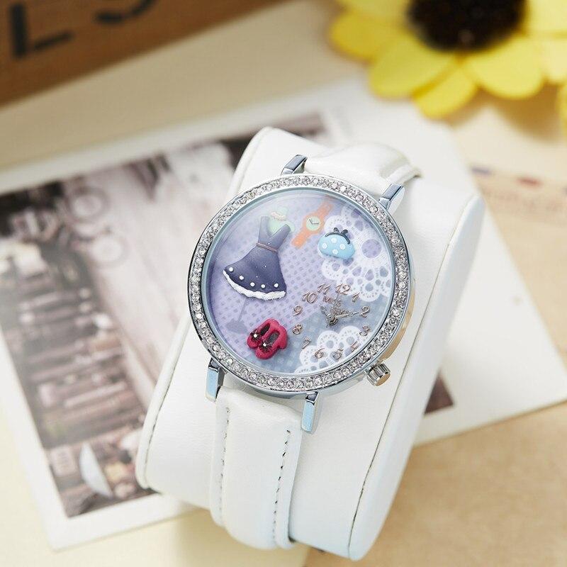 MISS KEKE klei schattige 3D mini wereld meisjesjurk Strass horloges - Herenhorloges - Foto 4