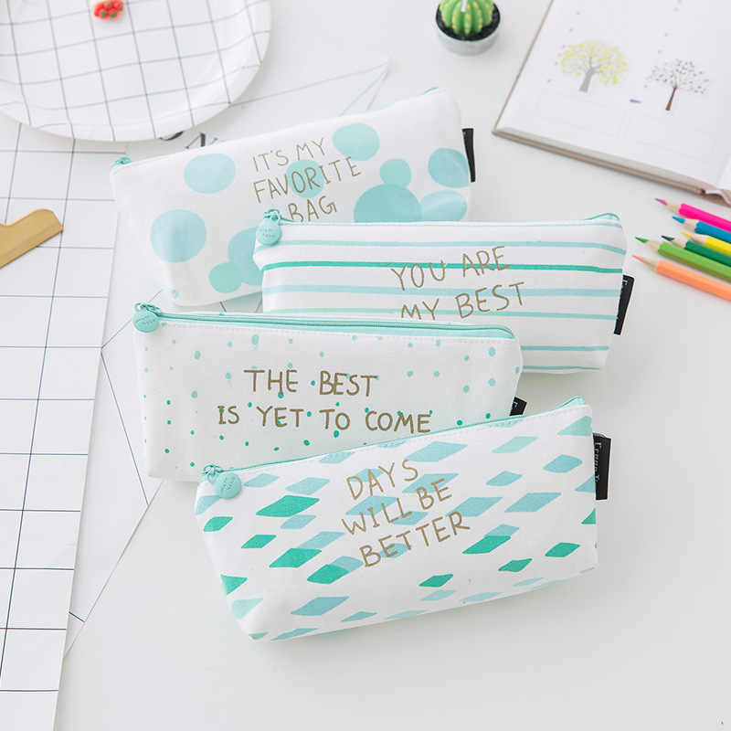 1pcs/sell Concise Kawaii Pencil Case Peppermint Green Horizontal Stripe School Supplies Stationery Gift Pencil Box Pencil Bag