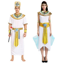 Egyptian Halloween Costumes The Prince Of The Nile Pharaoh Women Cleopatra Princess Dress Holiday Cosplay Adult Costume(China)