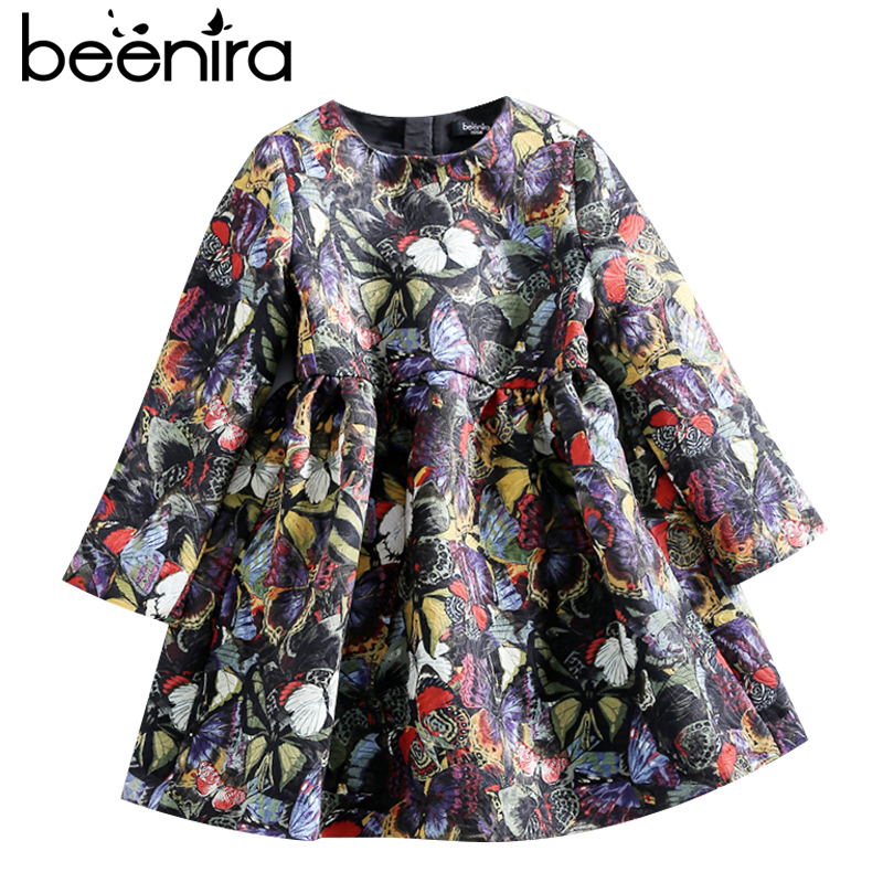 2017 Beenira European and American Style Children Butterfly Pattern Full-Sleeve Princess Dress Kids Autumn Clothes Girls Dresses 100% real photo brand kids red heart sleeve dress american and european style hollow girls clothes baby girl clothes