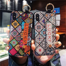 Datura silicon case for iphone 8 7 6s 6 plus XR XS MAX X cover fashion flower wristband holder soft protective phone bag