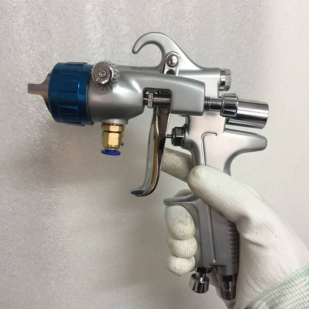 SAT1189 high quality pressure feeding type spray gun silver mirror chrome paint gun double nozzle 1.3 stainless steel car paint