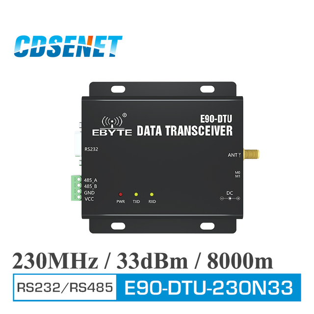 E90 DTU 230N33 transceptor inalámbrico RS232 RS485 interfaz 230MHz 2W de larga distancia 8km transceptor Radio Modem Narrowband 33dbm