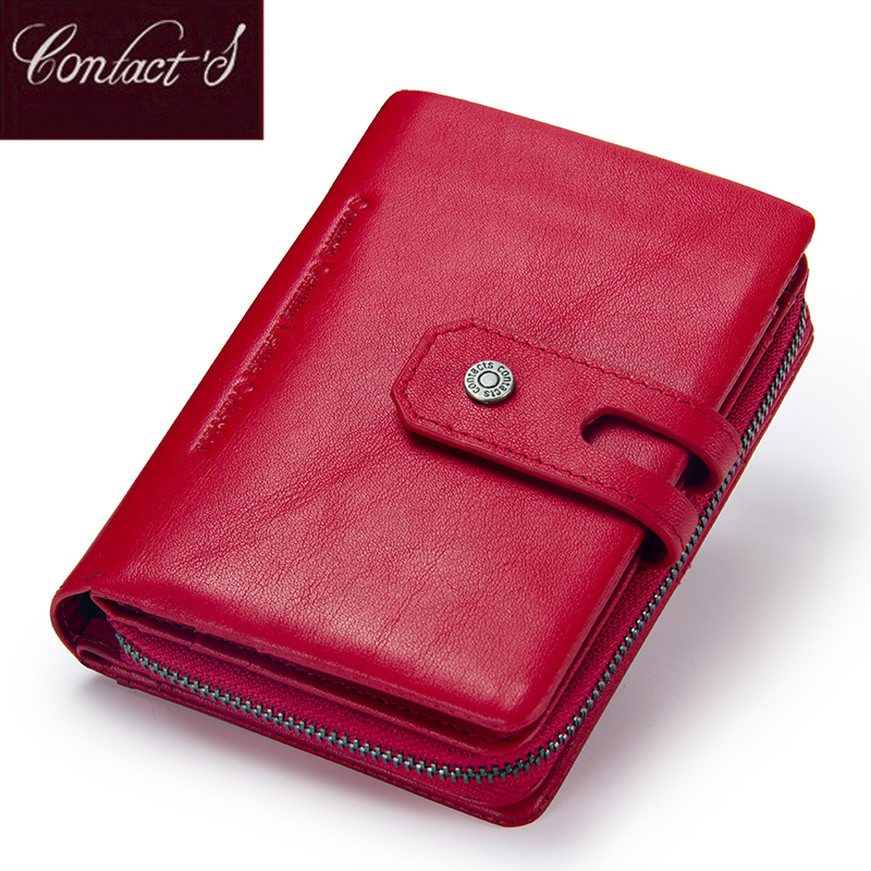 Contact's Short Wallets Genuine Leather Women Wallet New Fashion Coin Purse Zipper&Hasp Design Brand With Card Holder Pocket