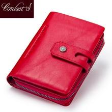 Contacts Genuine Leather short Wallet women Fashion small Coin Purse Zipper Hasp Card Holder wallets for women portfel damski