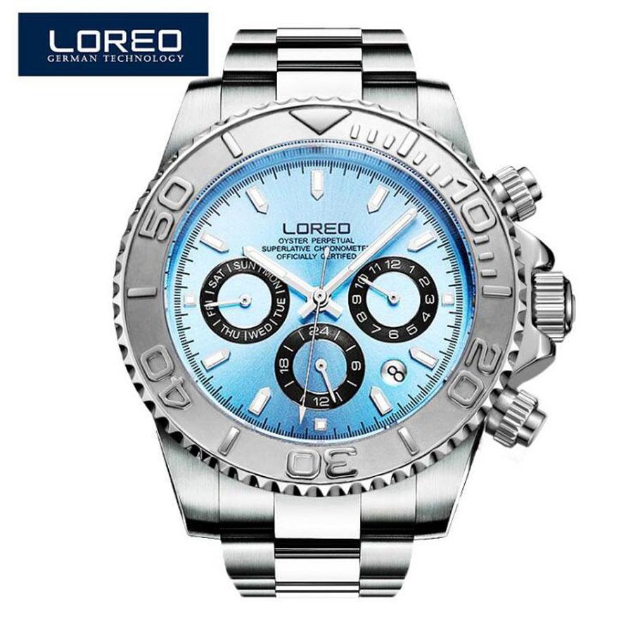 LOREO montres pour hommes Top marque saphir automatique montre mécanique pour hommes en acier inoxydable 200 montre à cadran bleu étanche