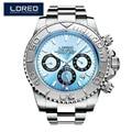 LOREO herren Uhren Top Brand Luxus Sapphire Automatische Mechanische Uhr Männer edelstahl 200 Wasserdicht Blau Zifferblatt Uhr