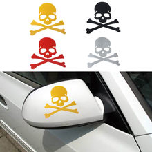 Fashion Skull Design 3D Decoration Sticker For Car Side Mirror Rearview car-styling Stickers Car Accessories For Ford Focus Kia(China)