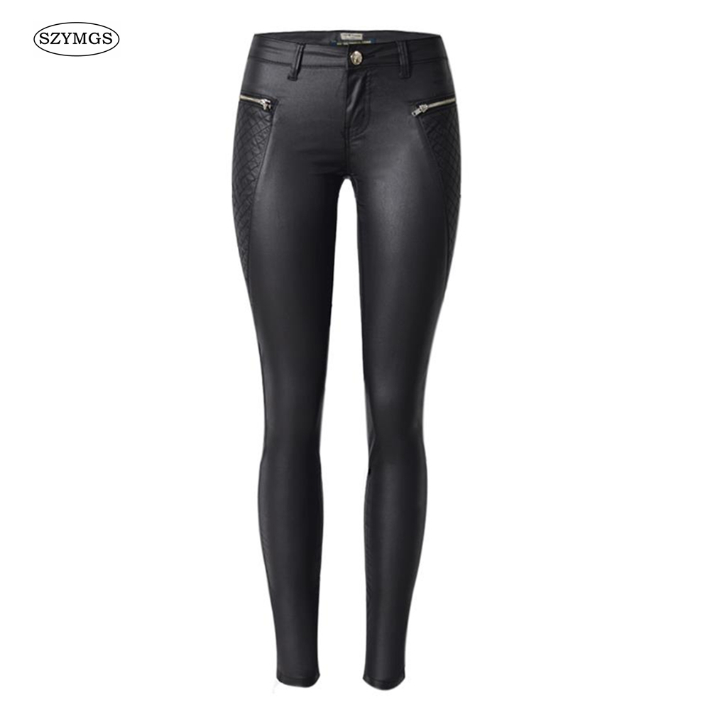 SZYMGS Fashion Elastic Cotton Pencil   Pants   woman   Pants   &   Capris   for women trousers Skinny legging jean pantalon femme