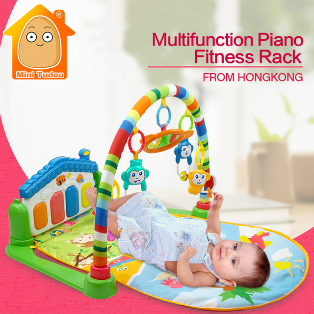 Newborn Baby Piano Mat Kids Rug Multifunction Fitness Rack With Rattle Activity Play Mat Children Educational Toys