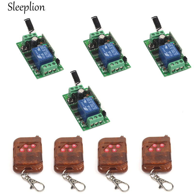 Sleeplion DC 12V 10A 1CH Relay 4 4 key wireless RF Smart Control Telecomando Switch Transmitter