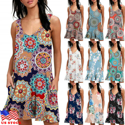 Stylish Hot Sale Women Sleeveless V-neck Natural-waist Pocket Floral Print Mini Dress Lady Summer Casual Daily Loose Dress M-XXL