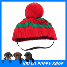Pet Dog Apparel Winter Warm Knitted Hat Scarf Pom-pom Cap Collar Clothes Costume Free Shipping