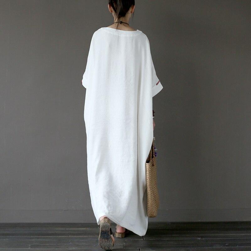 Sommer Casual Kleider Leinenstickerei Frauen Solide Weißes Kleid - Damenbekleidung - Foto 3