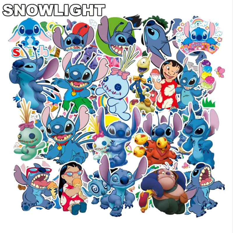 55Pcs/Set Classics Lilo Stitch Cute Cartoon Stickers Scrapbooking For Car Motorcycle Phone Luggage Laptop Notebook Pegatinas Toy