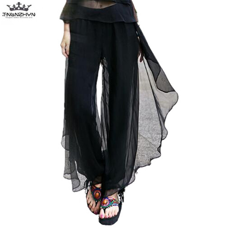 tnlnzhyn 2019 Spring Summer Women   Wide     leg     pants   Women Elastic High waist Chiffon Skirts   Pants   Loose Casual long Trousers A26