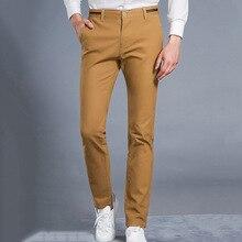 HCYX 2018 New Design Upscale Casual Men Pants Cotton Slim Male Pant Straight Trousers Fashion Business Pants Men Plus Size 38