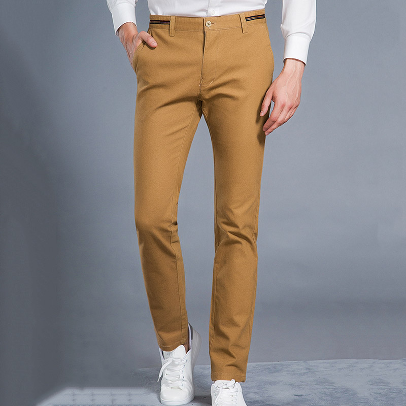 HCYX 2019 New Design High quality Upscale Men's Casual Pants Men Full Cotton Slim Fit Pants Trousers Male Fashion Plus size