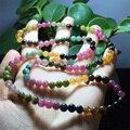 Genuíno Natural Colorido Turmalina Mix Multi-cor Estiramento Pulseira Rodada Beads Colar de 3 Voltas 5.5mm 04437