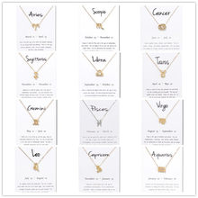 New Pisces Aquarius Aries Taurus Leo Capricorn Choker Necklace Birthday Gifts 12 Constellation Pendant Necklace With White Card stylish lucky clover constellation style pendant necklace aries