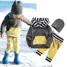 3pcs Newborn Toddler Baby Boys Hoodies Coat Tops+Pants+Hat Outfits Cute Kids Clothes Sets